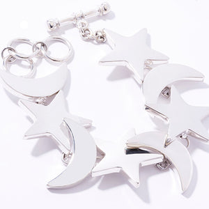 Large Sterling Silver Moon and Star Bracelet