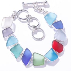 STERLING SILVER MULTI-COLOR RECYCLED GLASS BRACELET