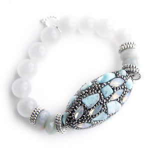 Light Aqua Mosaic with aquamarine rhondelle accents on 12mm white jade