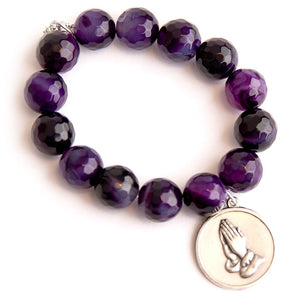 Faceted purple striped agate paired with Serenity Prayer medal