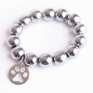 Silver hematite paired with a silver PAW print
