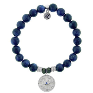 Kyanite Stone Bracelet with Protection Sterling Silver Charm