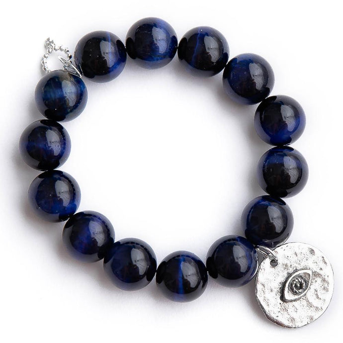 Midnight blue tiger eye with silver hammered evil eye