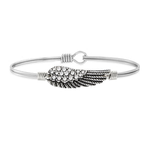 Angel Wing Bangle Bracelet in Crystal