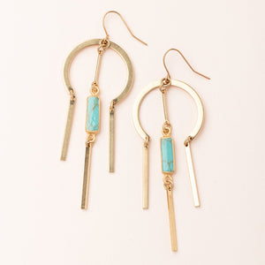 Dream Catcher Stone Earring - Turquoise/Gold
