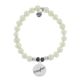 White Pearl Stone Bracelet with Daughter Endless Love Sterling Silver Charm
