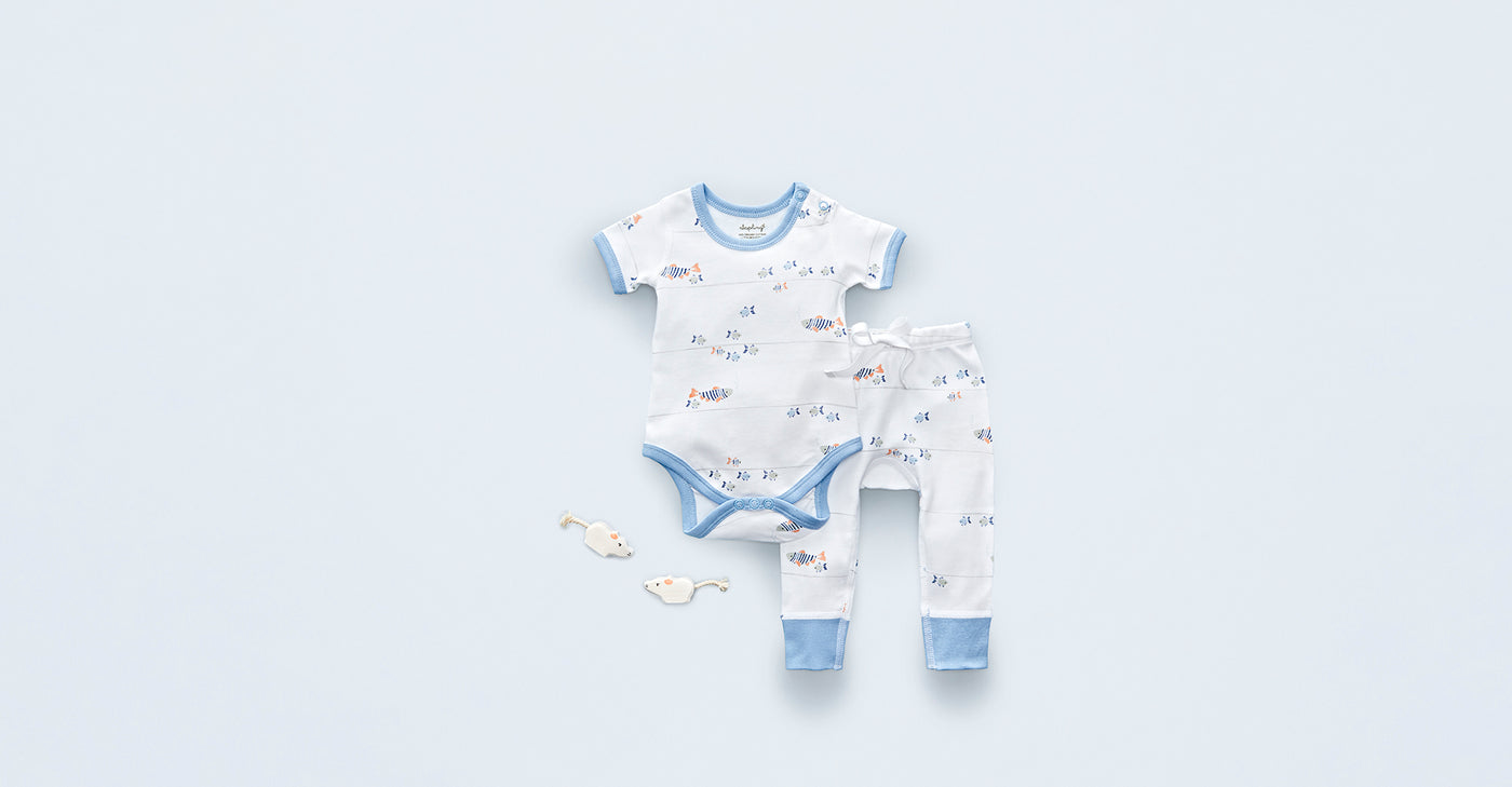 Water Baby Short Sleeve Bodysuit - Sapling Organic Baby Clothes