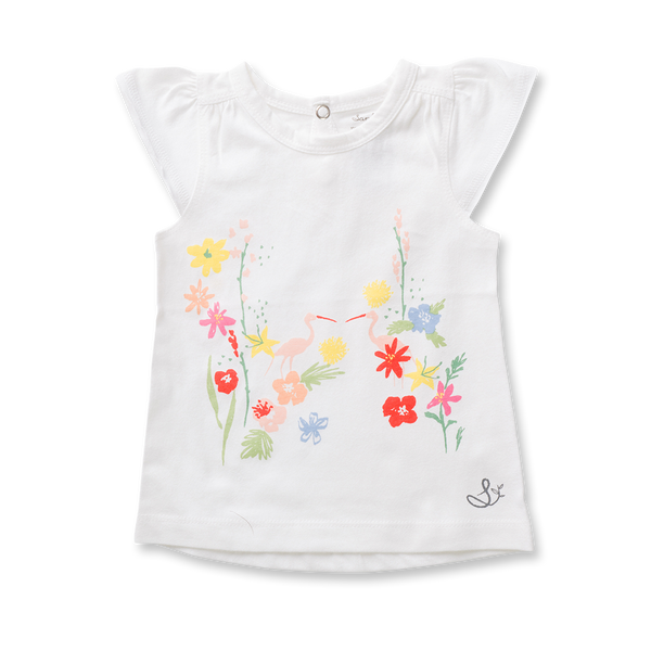 Floral Flutter Sleeve Tee - Sapling Organic Baby Clothes