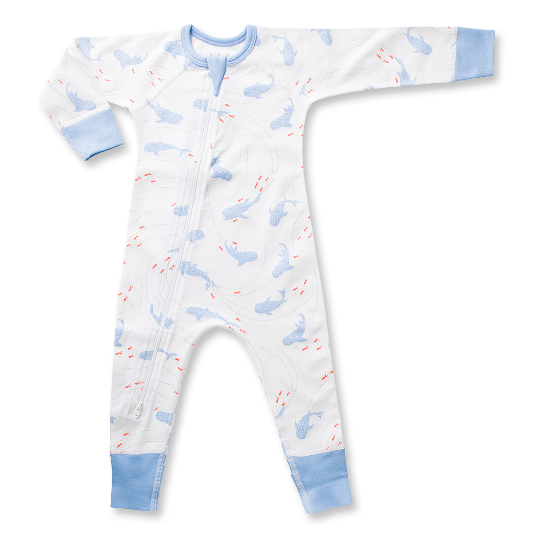 Whale Shark Zip Romper - Sapling Organic Baby Clothes