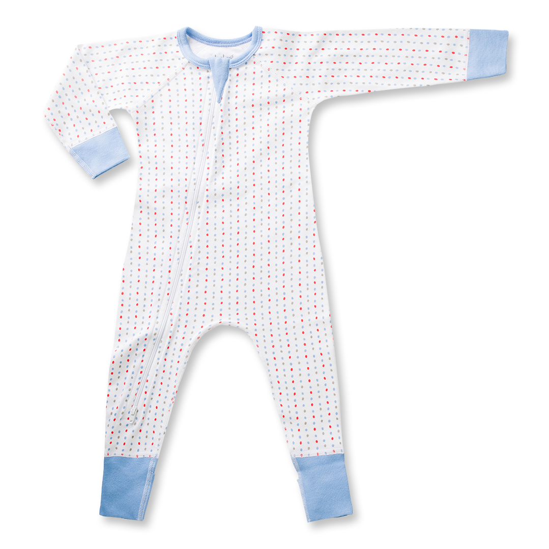Blue Spotted Zip Romper - Sapling Organic Baby Clothes