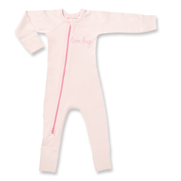 Love Bug Pink Zip Romper - Sapling Organic Baby Clothes