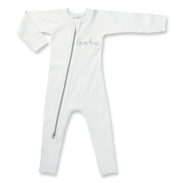 Love Bug Grey Zip Romper - Sapling Organic Baby Clothes