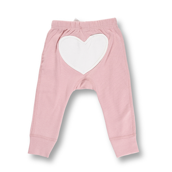 Pink Bloom Heart Pants - Sapling Organic Baby Clothes