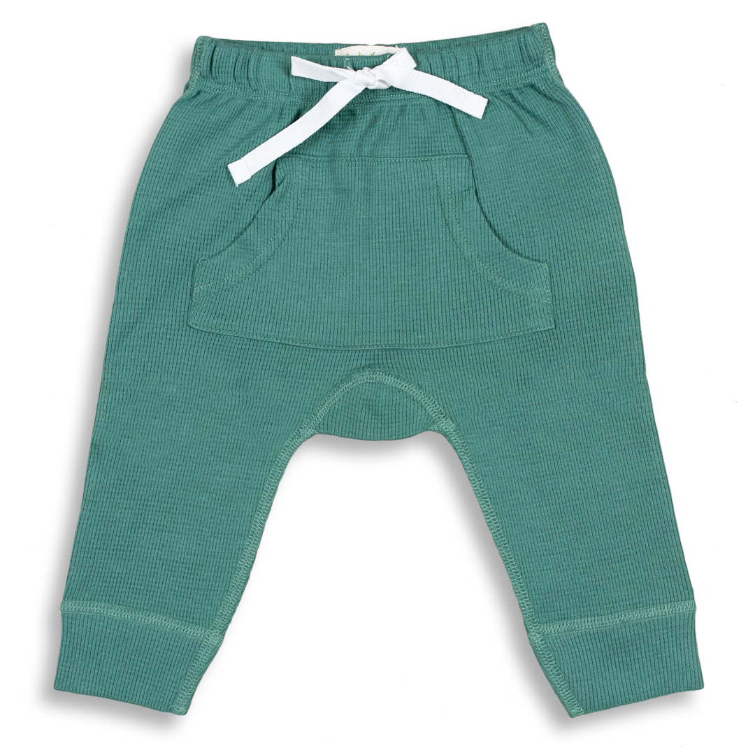 Spruce Green Waffle Pants - Sapling Organic Baby Clothes