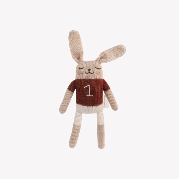 Bunny Knit Toy (with number 1 shirt) - Sapling Organic Baby Clothes