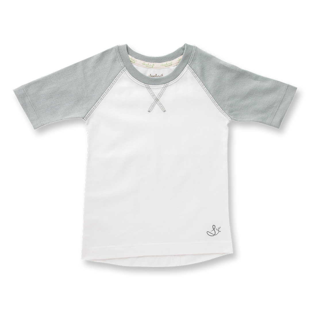 Neutral Grey Raglan Tee - Sapling Organic Baby Clothes