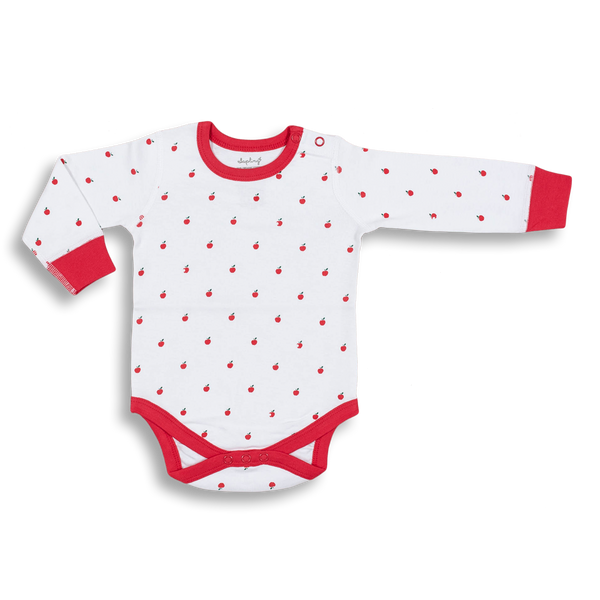 Apple Long Sleeve Bodysuit - Sapling Organic Baby Clothes