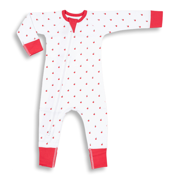 Apple Zip Romper - Sapling Organic Baby Clothes