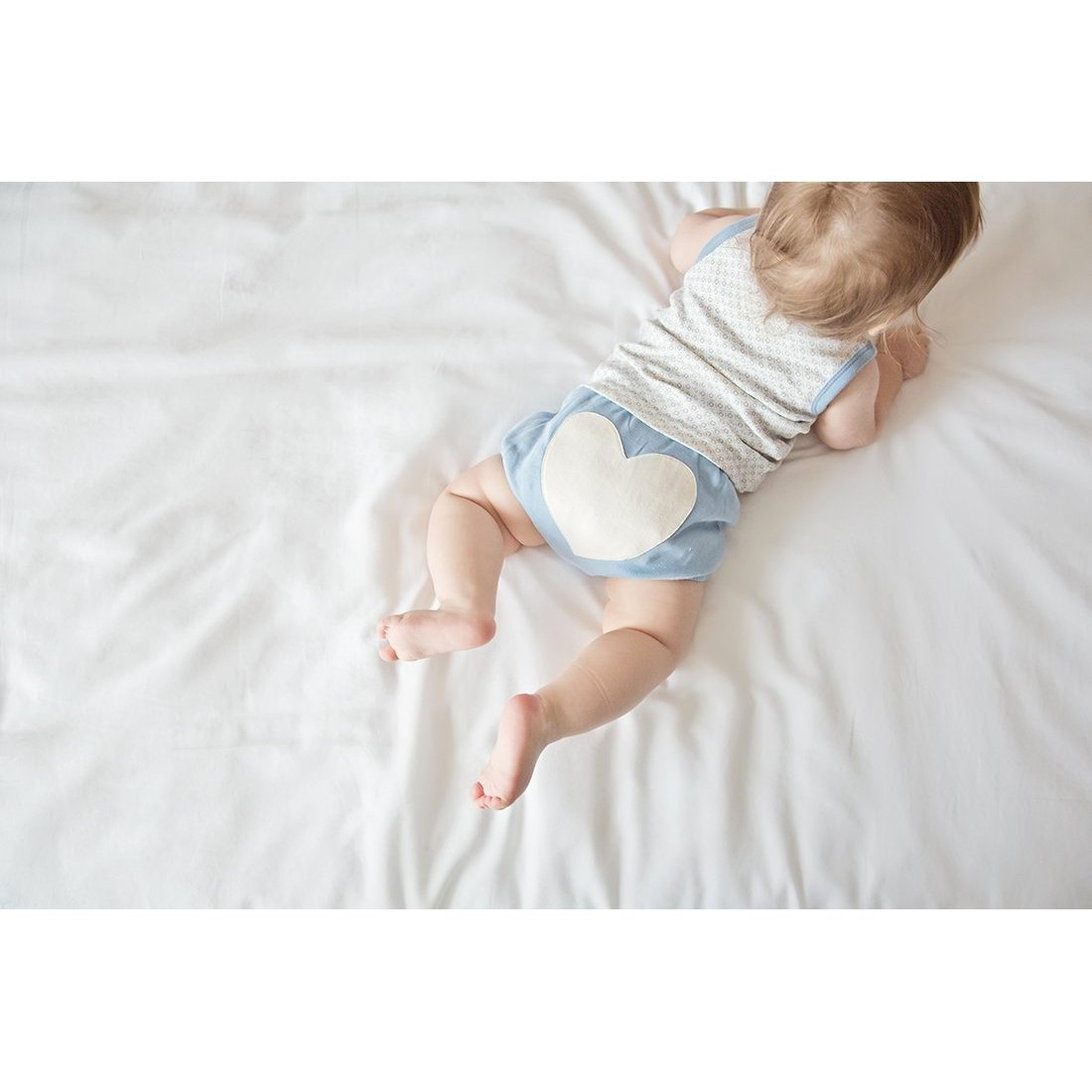 Little Boy Blue Heart Bloomers - Sapling Organic Baby Clothes