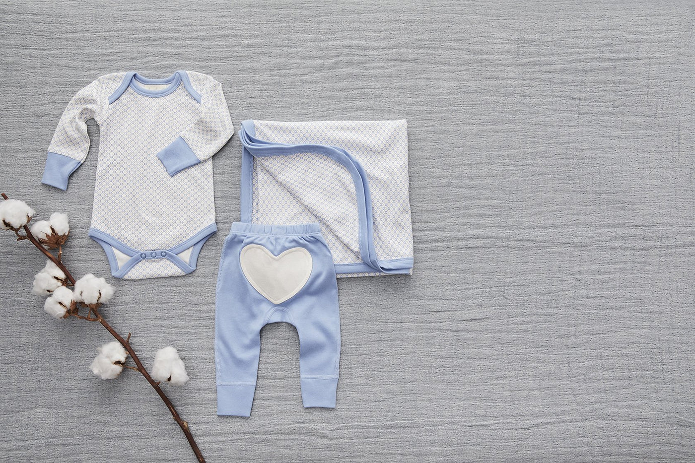 Little Boy Blue Heart Pants - Sapling Child Canada