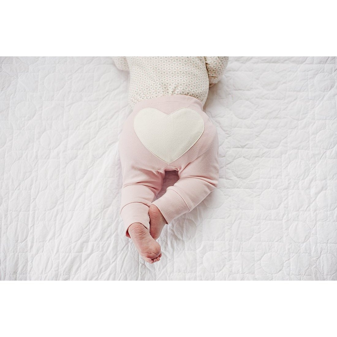 Dusty Pink Heart Pants - Sapling Organic Baby Clothes