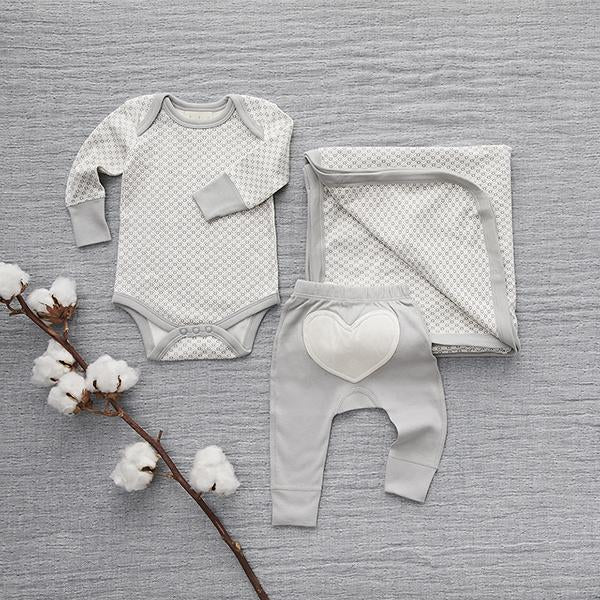 Dove Grey Long Sleeve Bodysuit - Sapling Organic Baby Clothes
