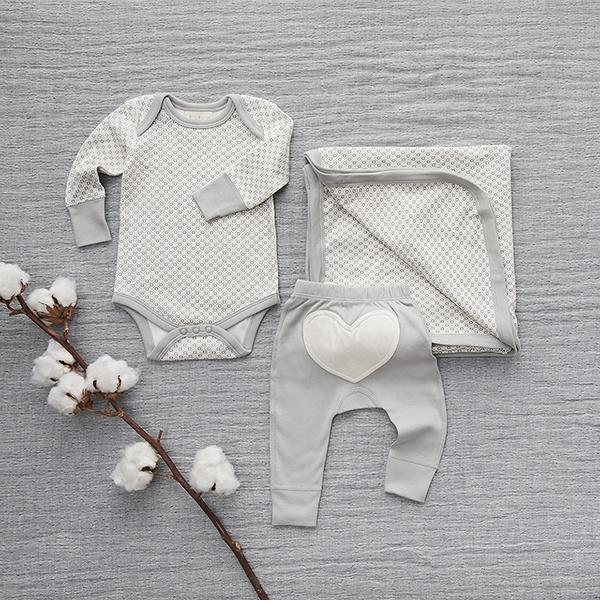 Dove Grey Long Sleeve Bodysuit - Sapling Child Canada