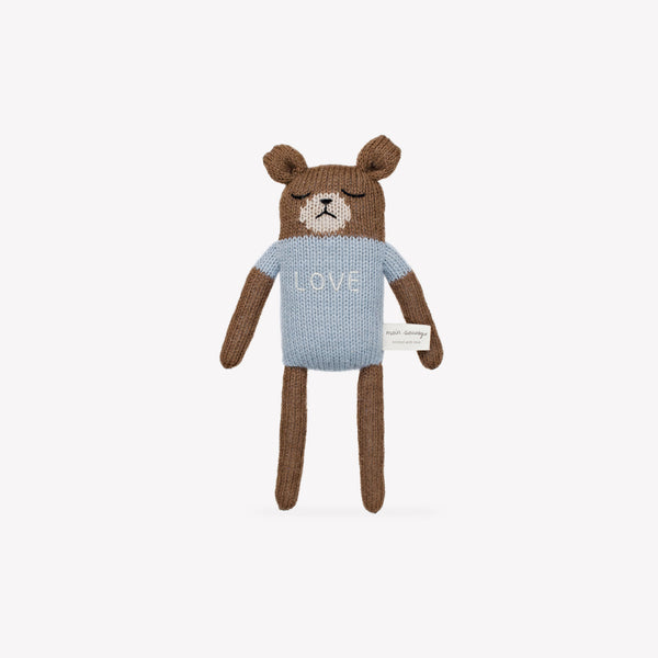 """Love"" Teddy Knit Toy - Sapling Organic Baby Clothes"