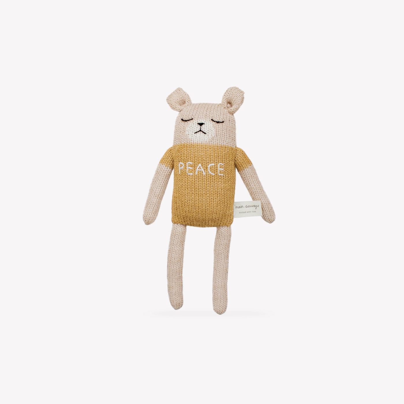 """Peace"" Teddy Knit Toy - Sapling Organic Baby Clothes"
