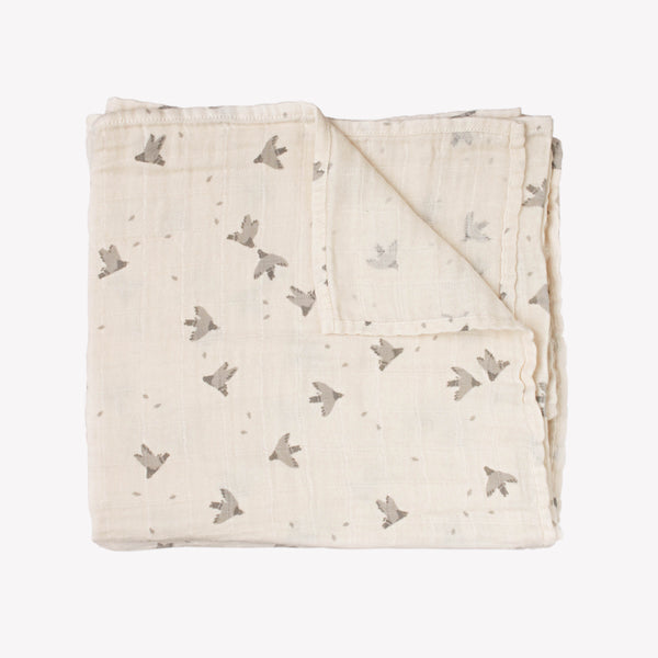 Muslin Swaddle - Pigeons - Sapling Organic Baby Clothes