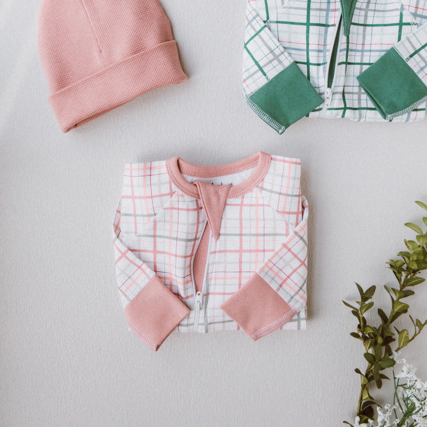 Blush Plaid Zip Romper