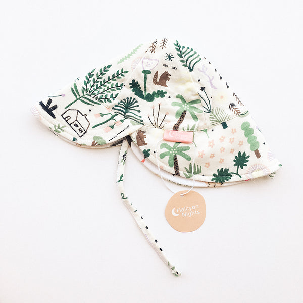 Reversible Sun Hat - Secret Garden - Sapling Organic Baby Clothes