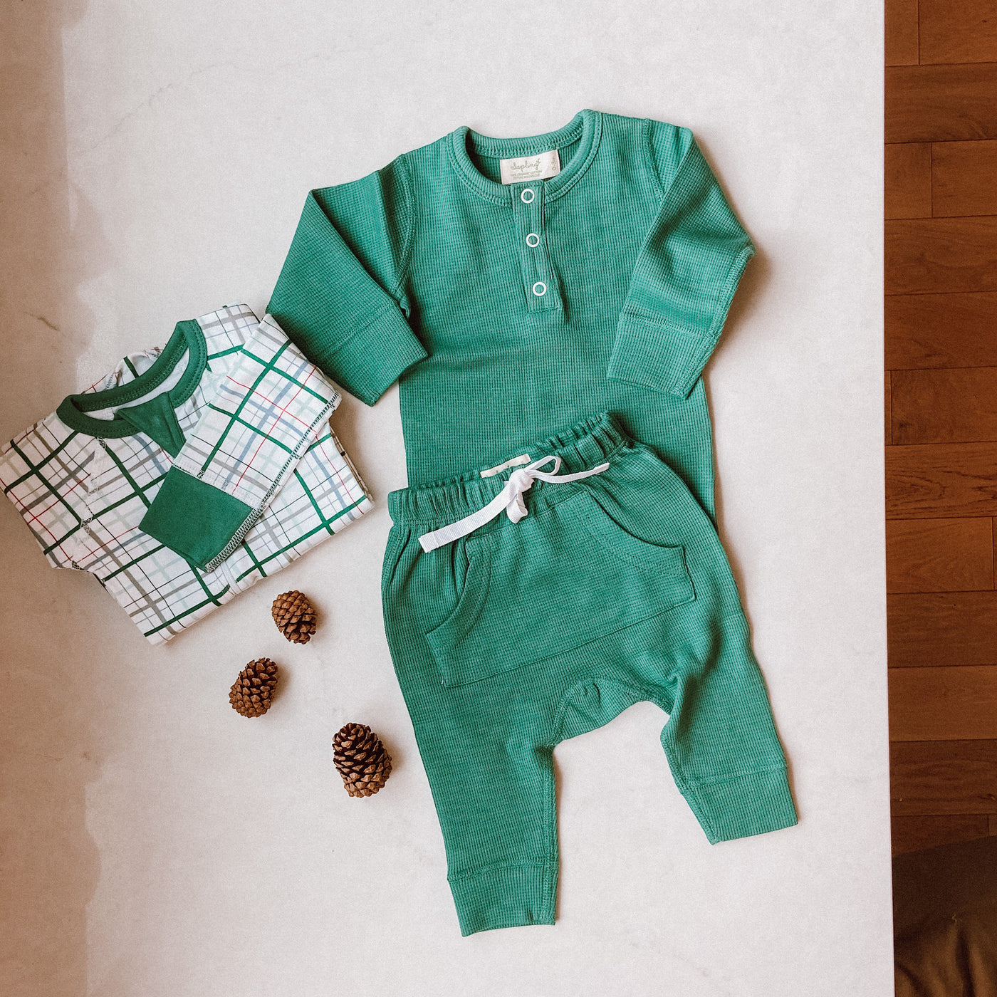 Spruce Green Waffle Pants