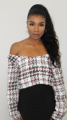 Red, White & Black Knitted Off Shoulder Jumper - Willow