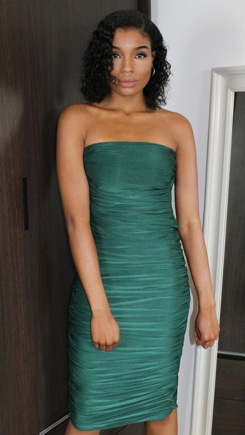 Emerald Gathered Dress