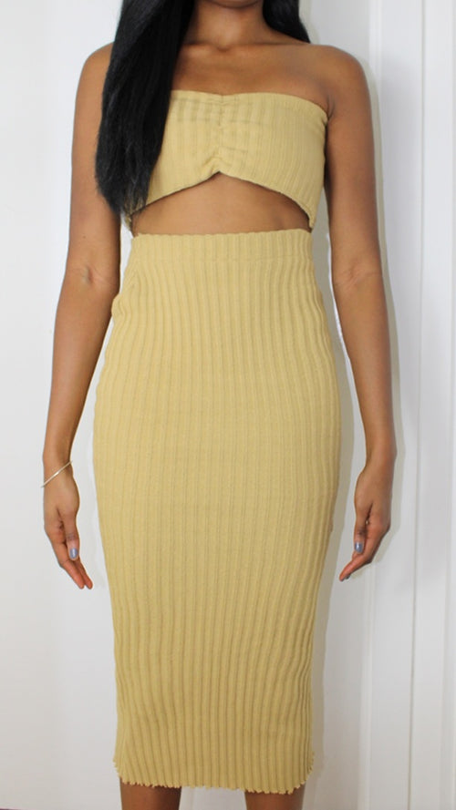 Light Mustard Ribbed Set