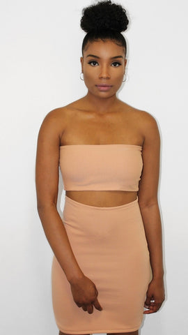 Peach Crop Top & Black Bodycon Skirt - Eva