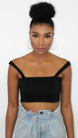 Black Gathered One Sleeve Crop Top & Skirt - Harmony