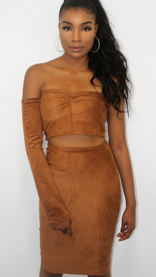 Tan Suede One Sleeve Gathered Crop Top & Skirt - Christie