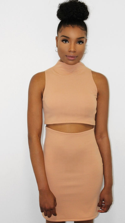 Peach Turtle Neck Top & Bodycon Skirt - Lizzi