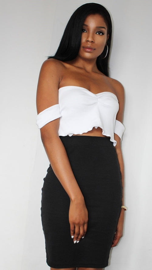 White Off Shoulder Thick Strap Sleeve Crop Top - Butterfly