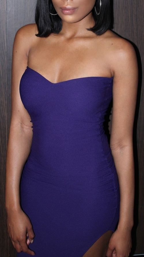 Royal Purple Bodycon Slit Dress - Diana