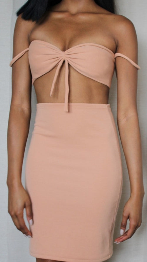 Peach Bow Crop Top & Bodycon Skirt Set - Leanna
