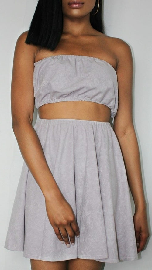 Lilac Crop Top & Skater Skirt Co-ord - Jasmine