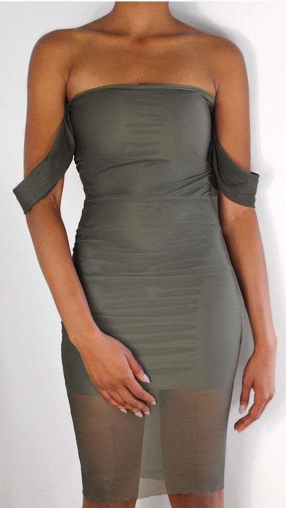 Khaki Mesh Drapped Dress