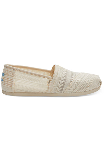 Toms Women's Natural Arrow Embroidered Mesh Classic Shoes