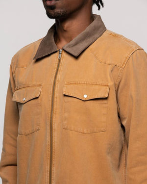Washed Canvas Zip-Up Work Shirt