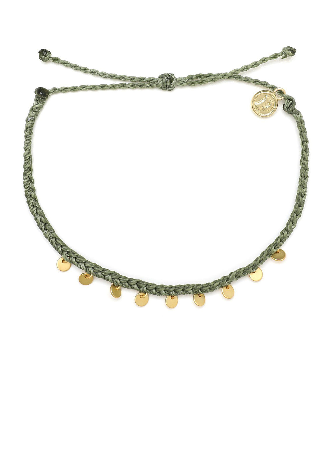Pura Vida Gold Mini Braided Coin Anklet