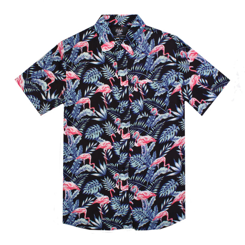 Black Sea Flamingo Button Up Shirt