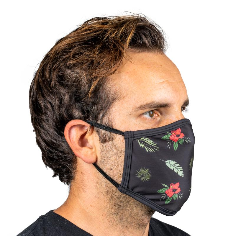 Unisex Everyday 'Black Tropical Floral' Face Mask